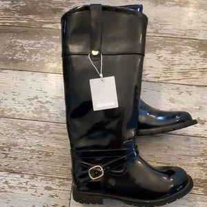Zara girls knee high patent leather riding boot